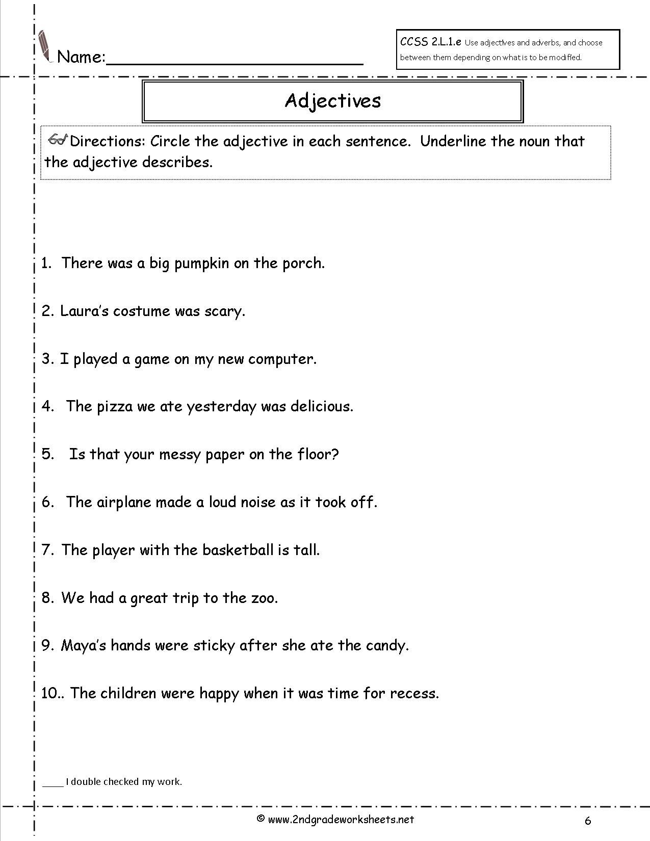 Worksheet Limiting Adjectives