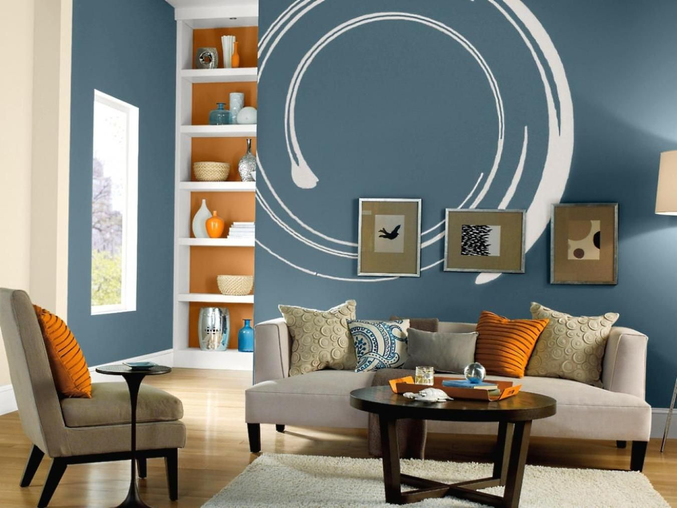 a unique blue wall paint with white circle for terrific on paint ideas for living room walls id=99246