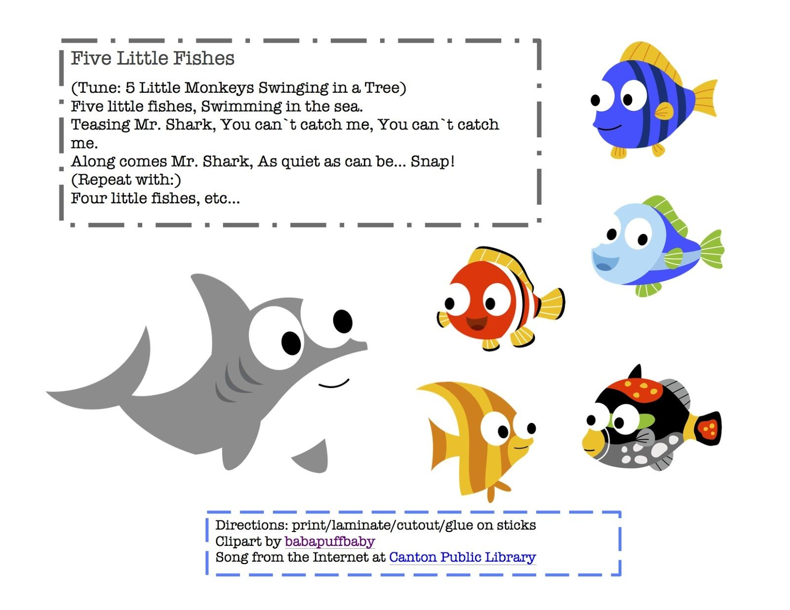 Preschool Printables Free Five Little Fishes