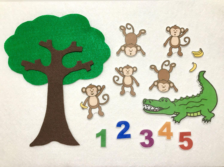 Five Monkeys Teasing Mr Alligator Felt Story