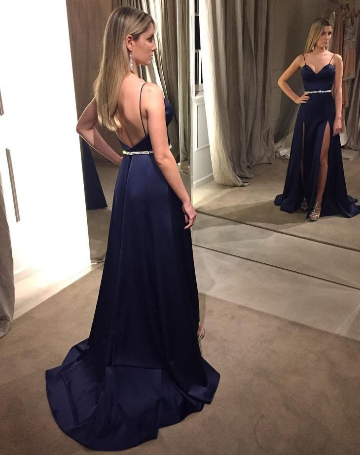 Navy Blue Satin Prom Dresses High Slit Evening fashionshopping