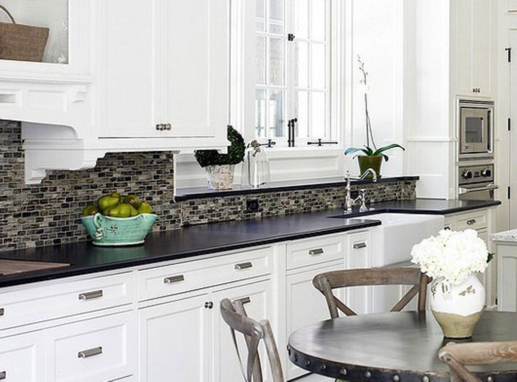 Backsplash for White Cabinets and Black Granite ... on Backsplash Black Granite Countertops  id=12575