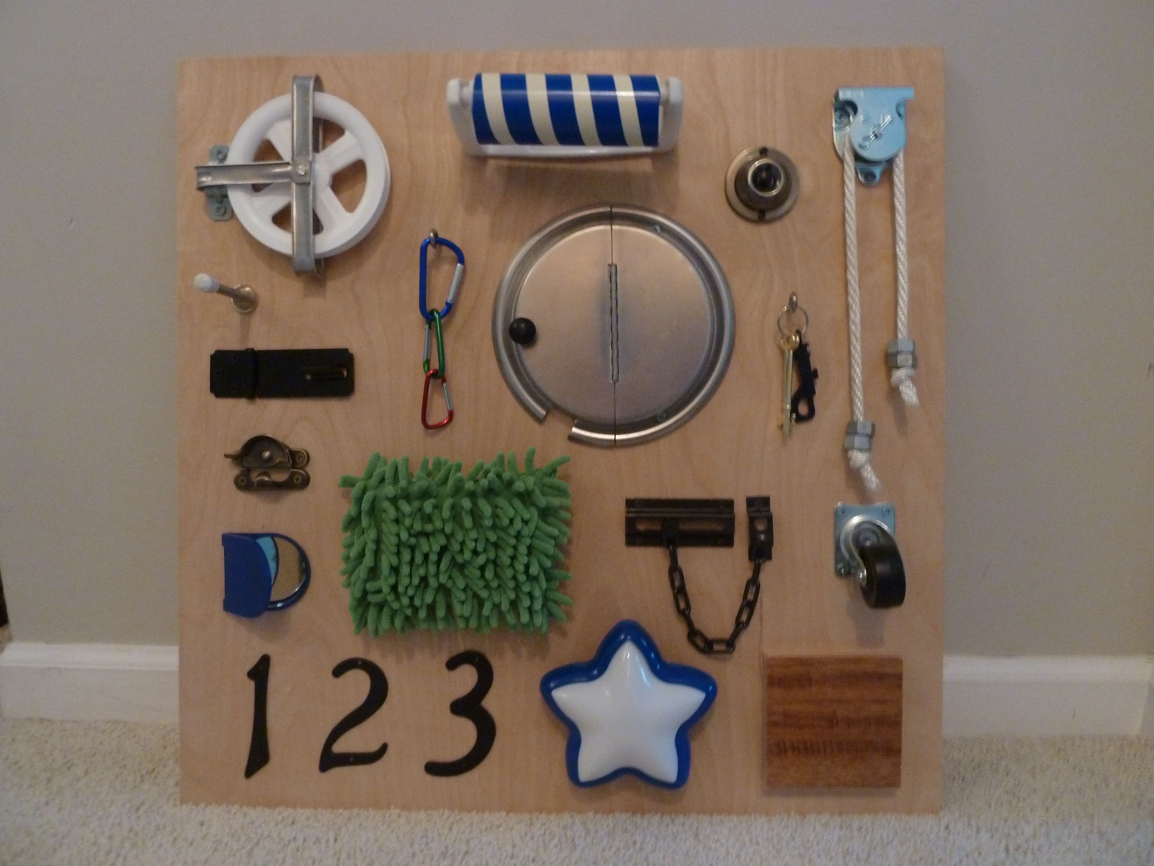 My Version Of A Sensory Board For Our 18 Month Old His
