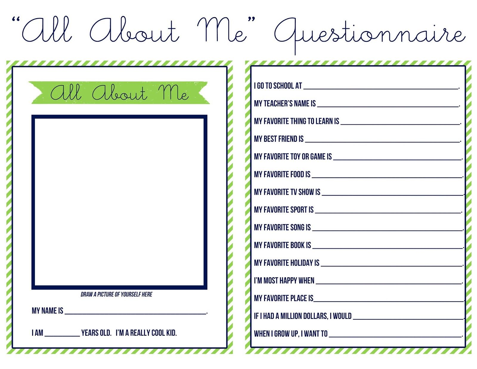 Sweet Nothings All About Me Questionnaire