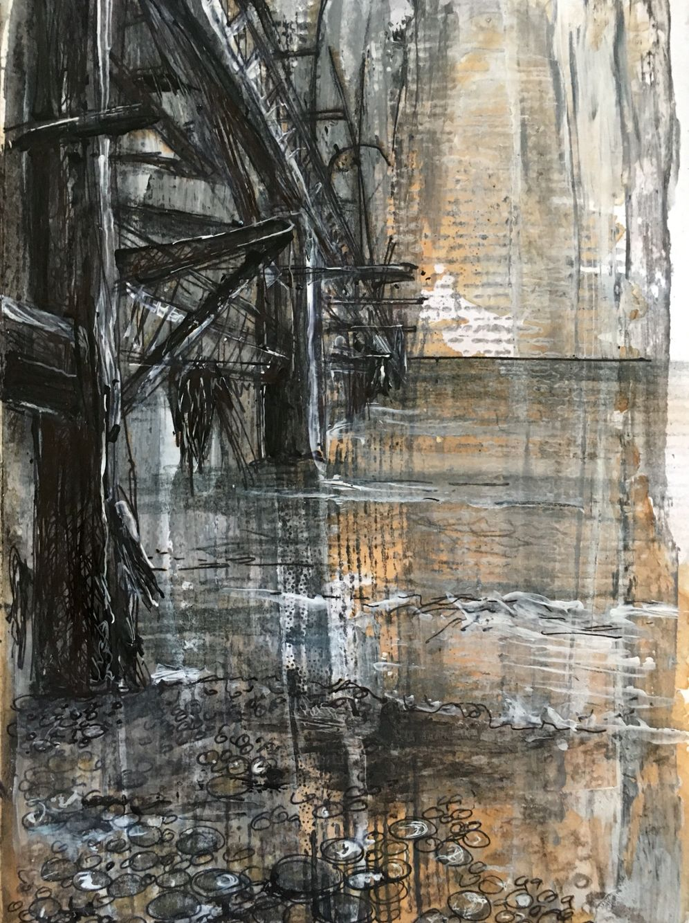 Derelict spaces pier isle of wight mixed media drawing