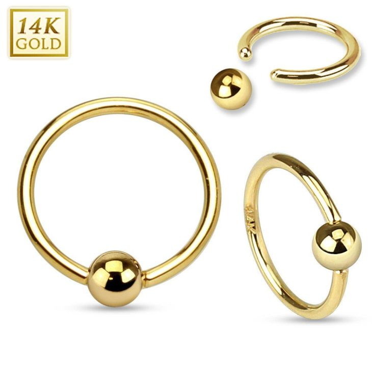 K Gold Captive Bead Belly Piercing Jewellery Gold Belly Rings