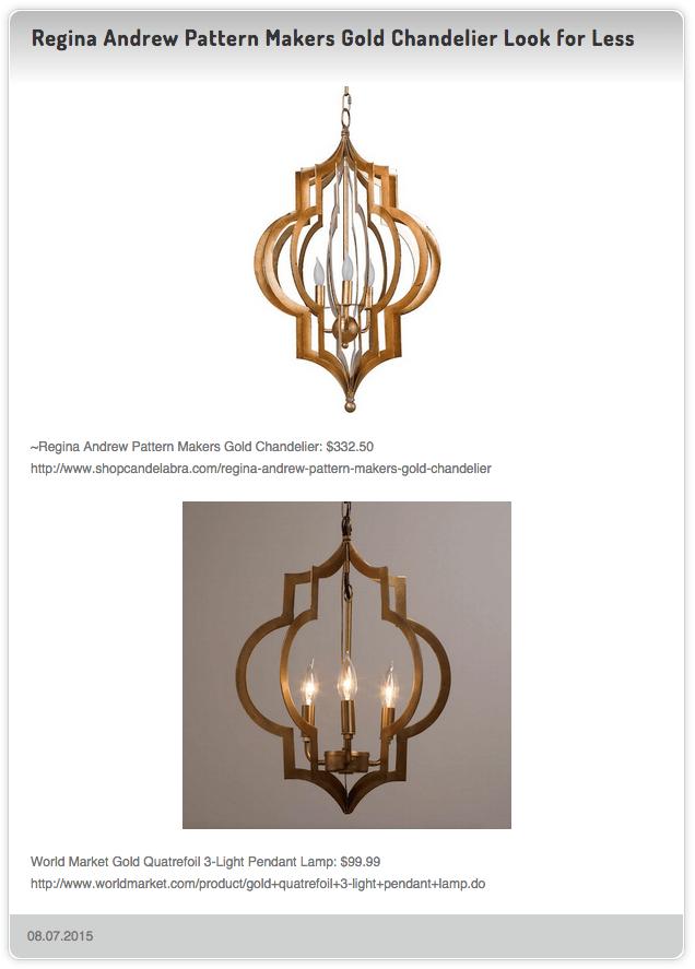 Regina Andrew Pattern Makers Gold Chandelier 332 50 Vs World Market Quatrefoil 3 Light Pendant