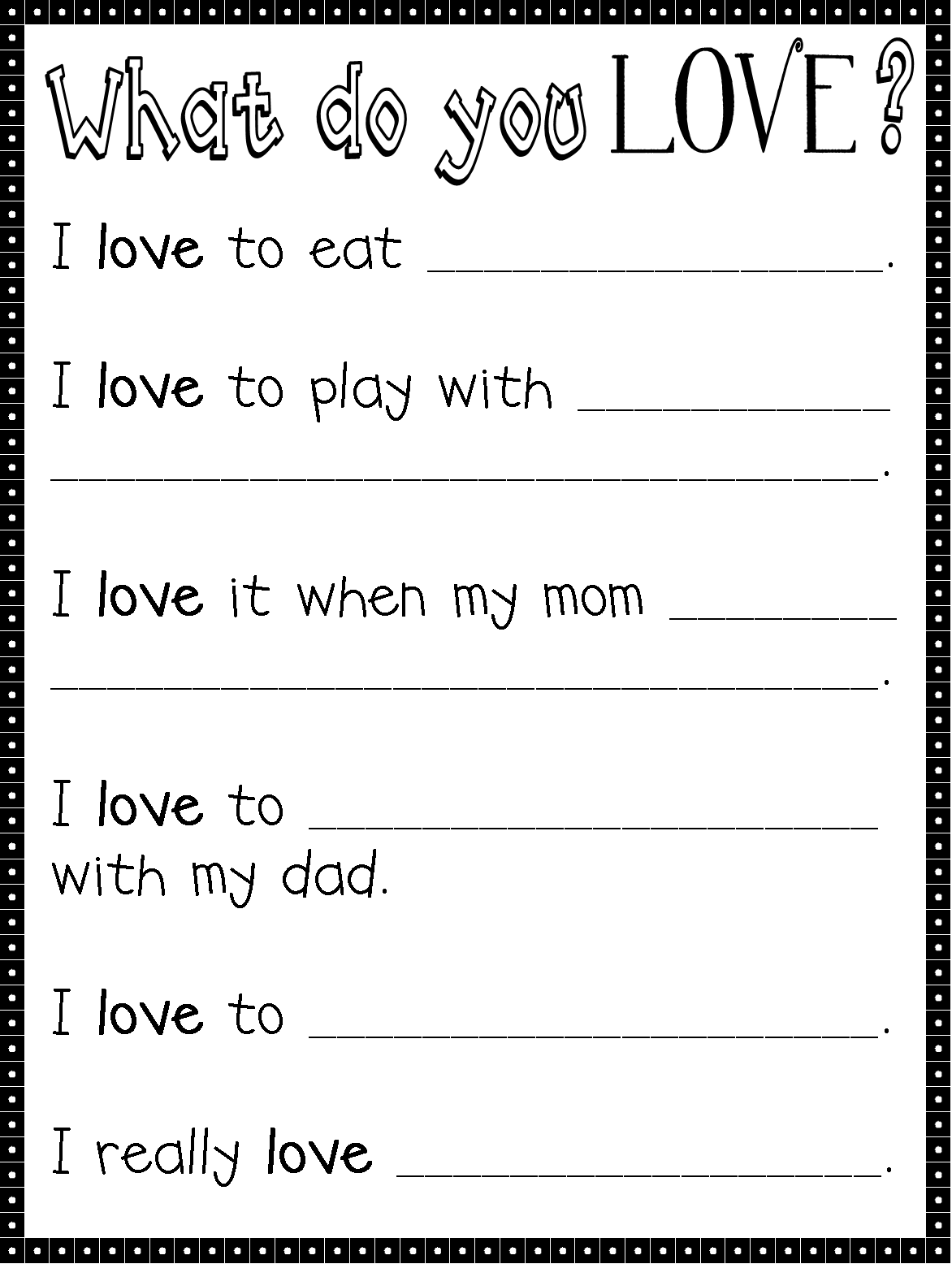 Since Valentine S Day Is All About Love Here S A Little Writing Activity You Can Do With