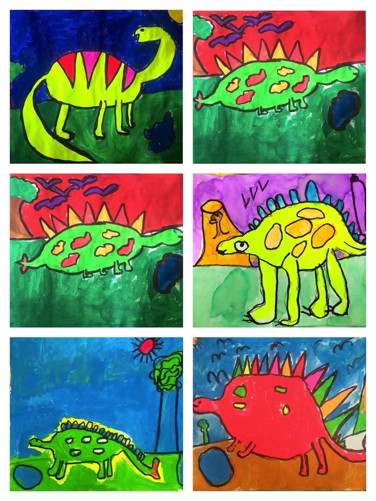 Exploring Art Elementary Art 1st Grade Rockin Dinosaurs