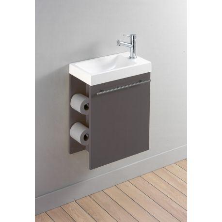 meuble lave mains complet avec distributeur de papier couleur taupe mat toilet and woods