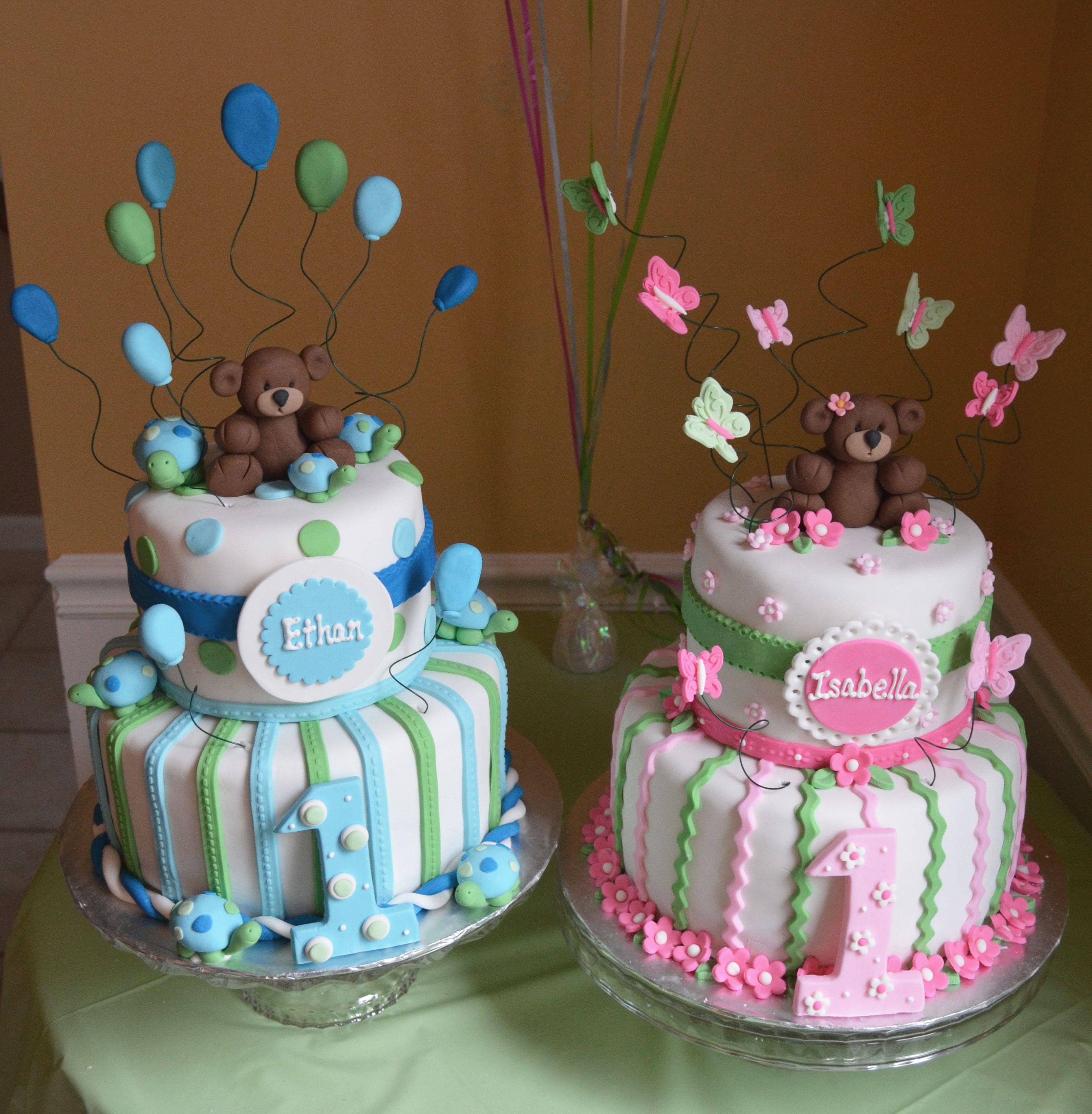 Twin 1 Year Birthday Cakes Boy And Girl Bears Turtles