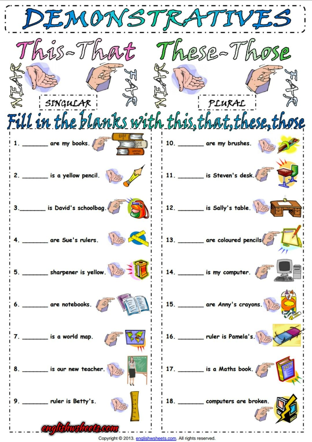 Demonstrative Pronouns Esl Exercise Worksheet