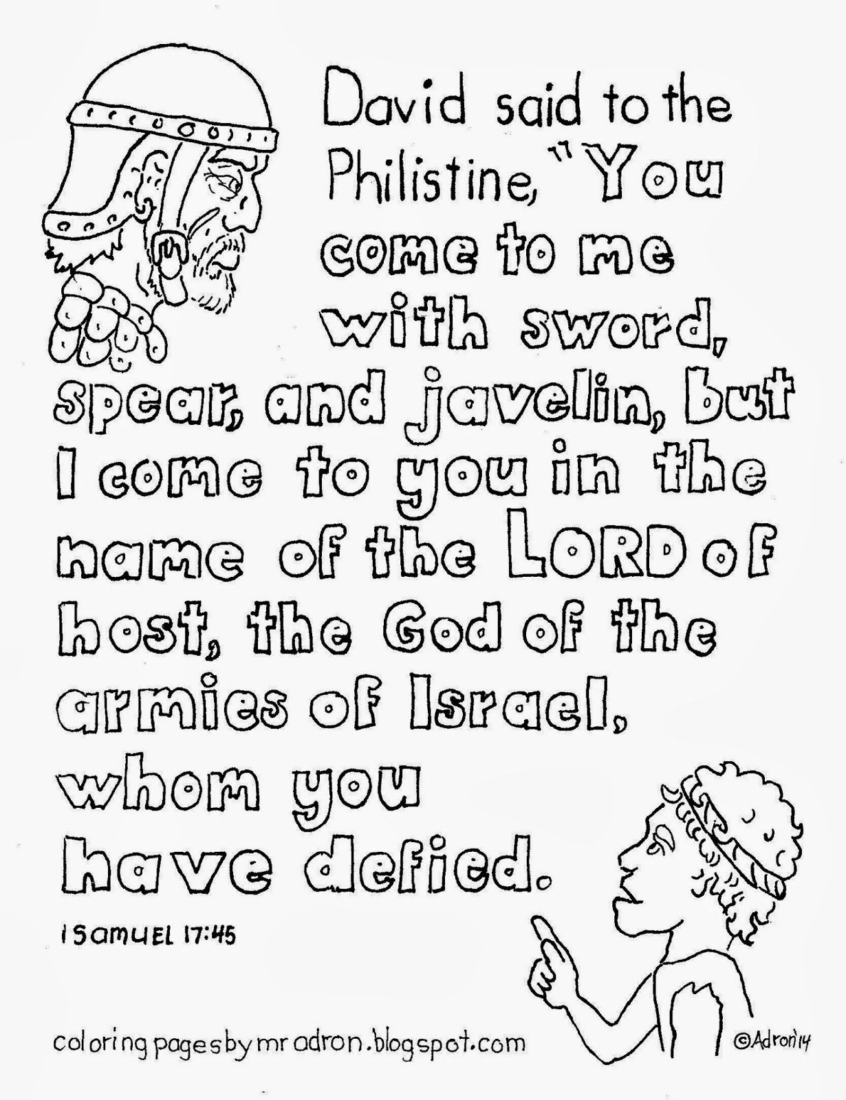 David And Goliath Printable Coloring Page Clip Art