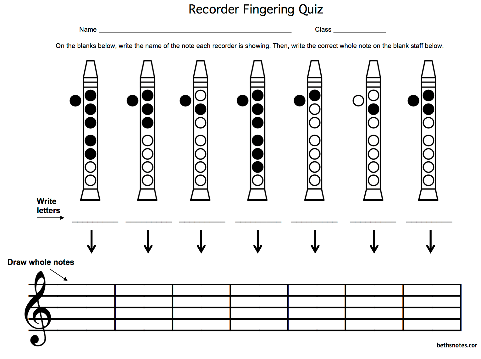 Beth S Music Notes Recorder Fingering Quizzes
