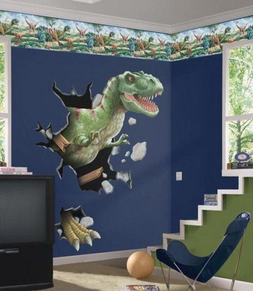 kids bedroom sticker wall murals Boys Room with Dinosaurs Wall Mural Kids Bedroom