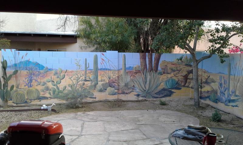 Desert landscape mural on backyard cinder block wall ... on Backyard Cinder Block Wall Ideas  id=88882