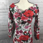 Express tricot body con floral off shoulder dress tricot body con