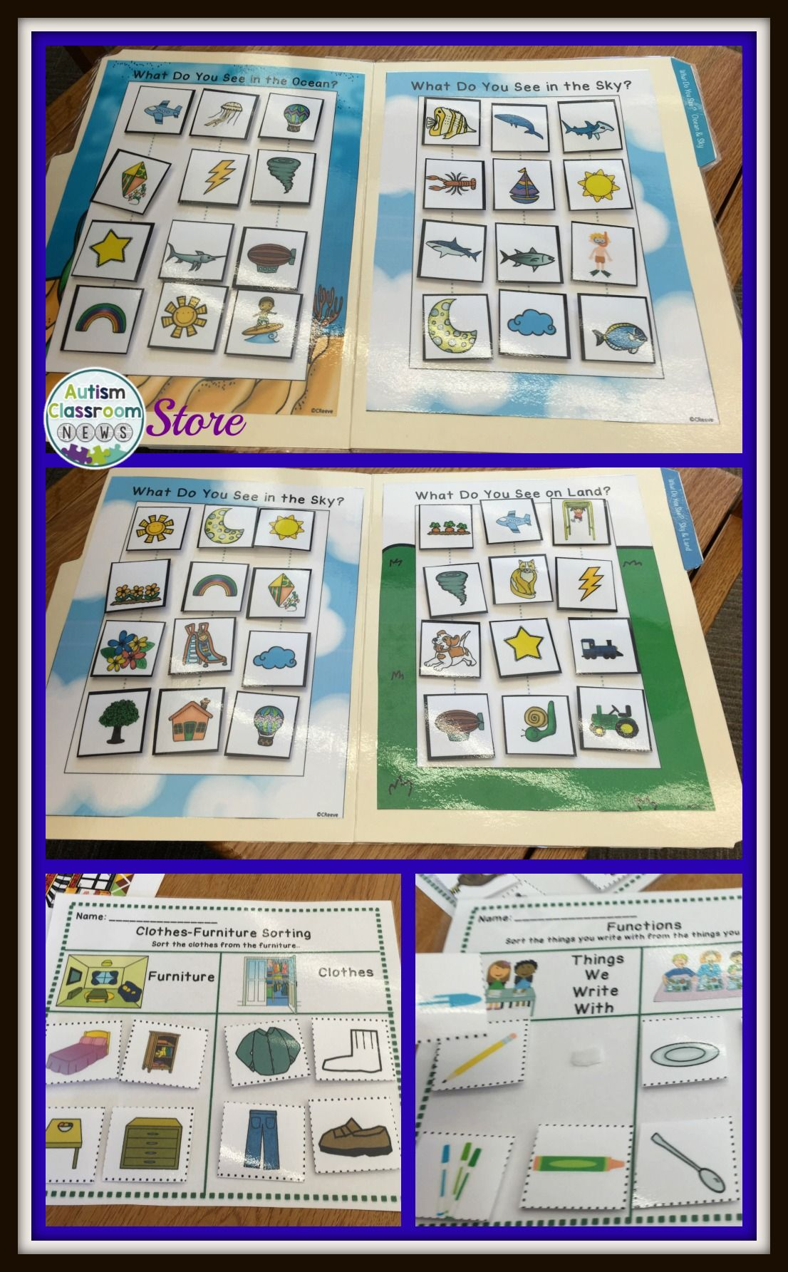 Receptive Vocabulary Sorting For Autism File Folders And Worksheets Spec Ed