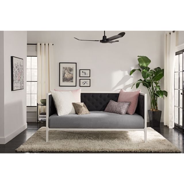 DHP Soho White Metal with Black Linen Modern Twin Daybed by DHP