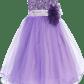 Lavender sequined bodice dress with lettuce hem tulle skirt girls t