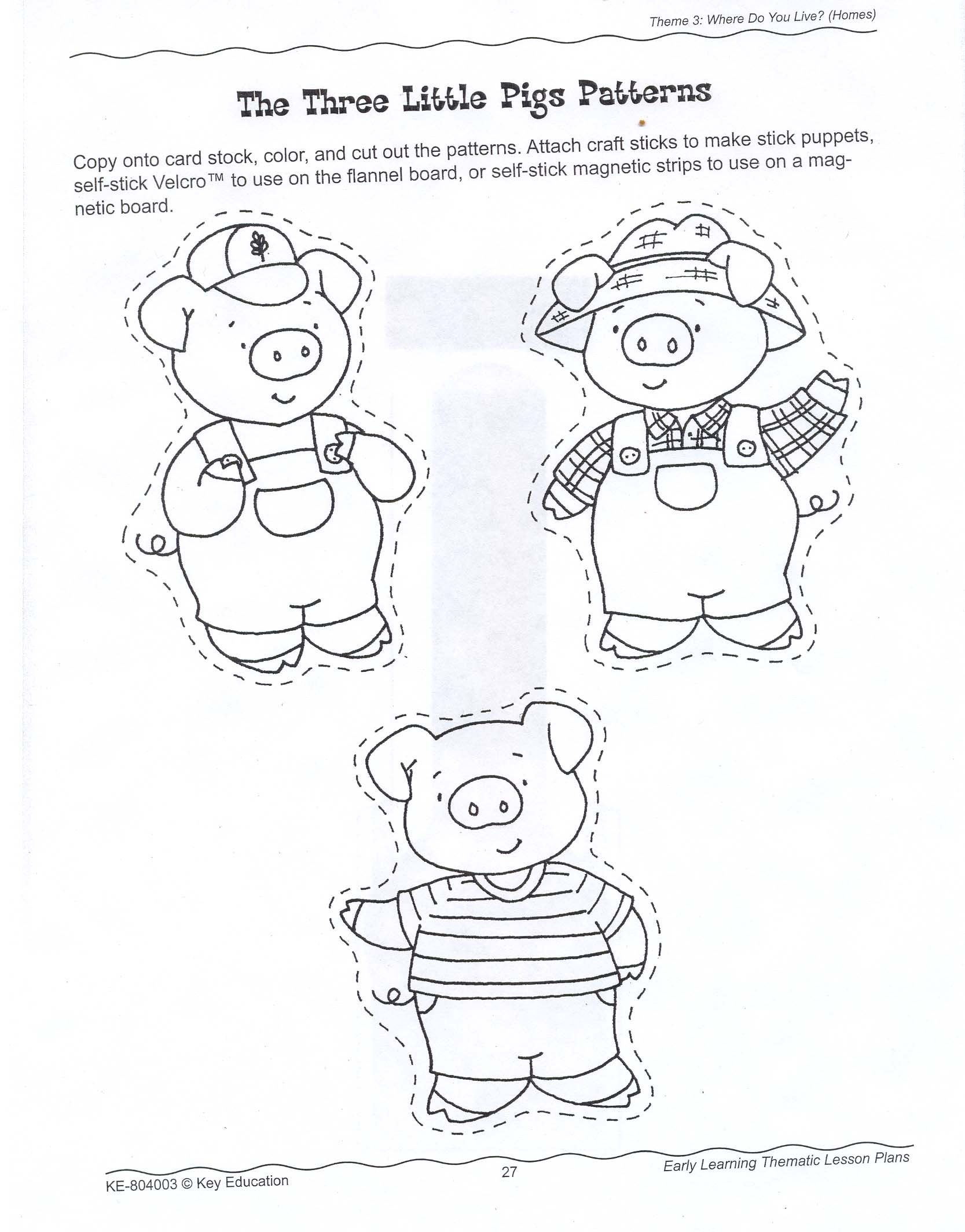 Printable Three Little Pigs House Templates