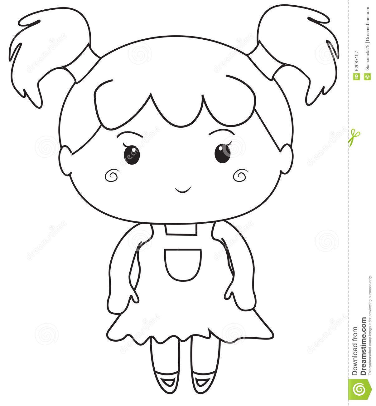 Little Girl Coloring Pages Little Girl Coloring Page Stock