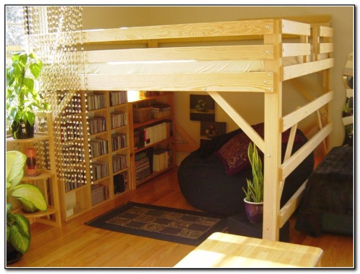 Rustic Adult Loft Bed With Stairs With Bookshelf At The