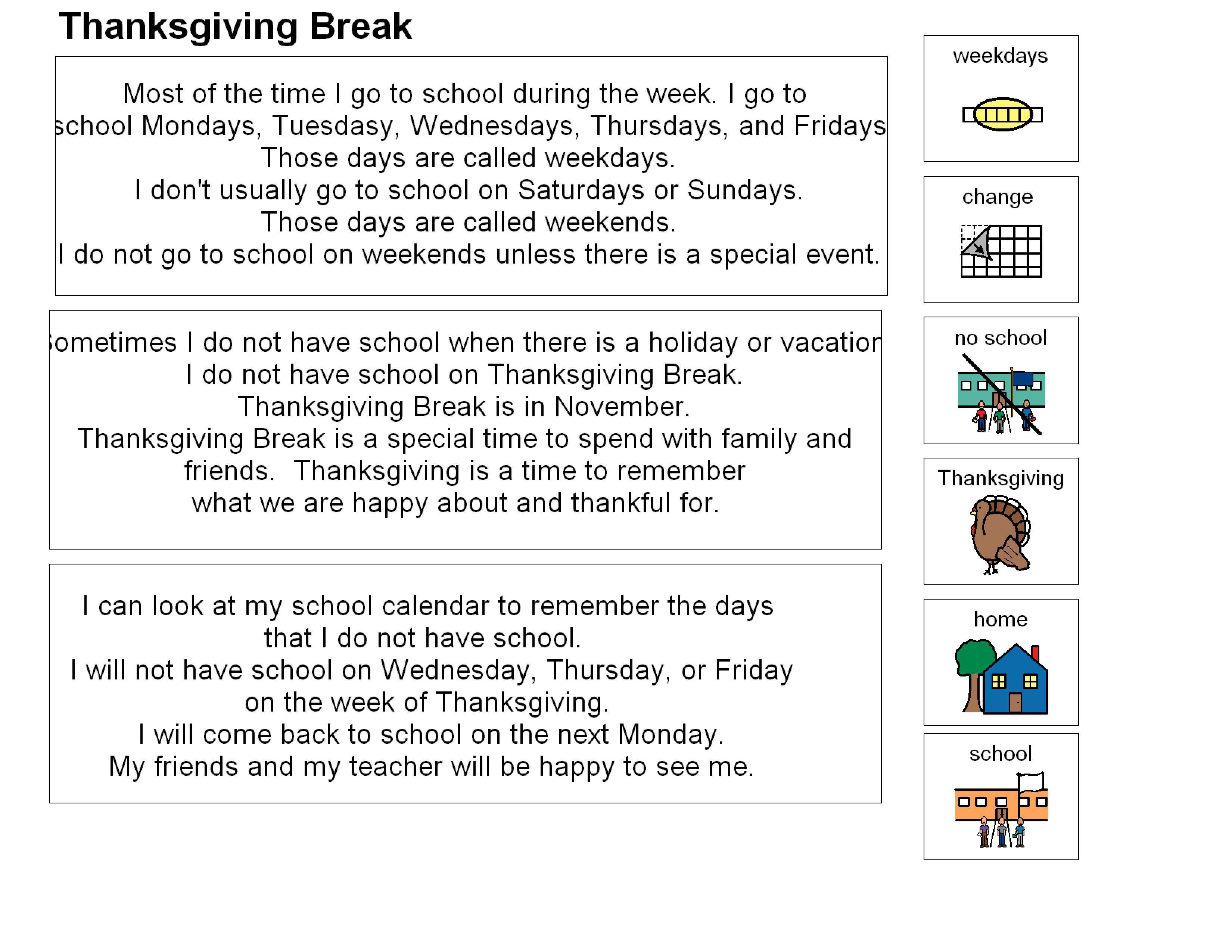Thanksgiving Break Social Story