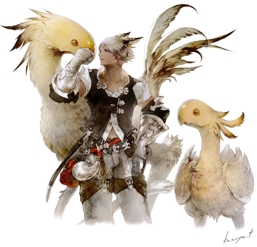 Chocobo Amp Miqote Male From Final Fantasy XIV A Realm