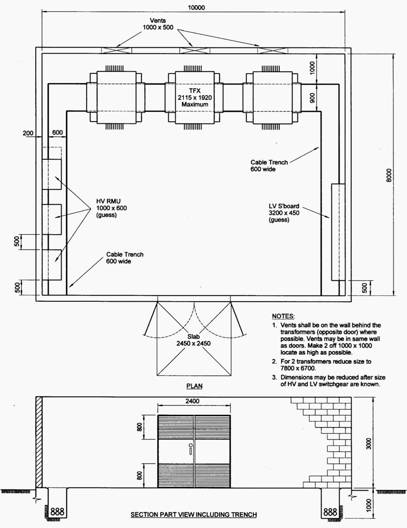 Indoor Distribution Substation Layout With 3 Transformers