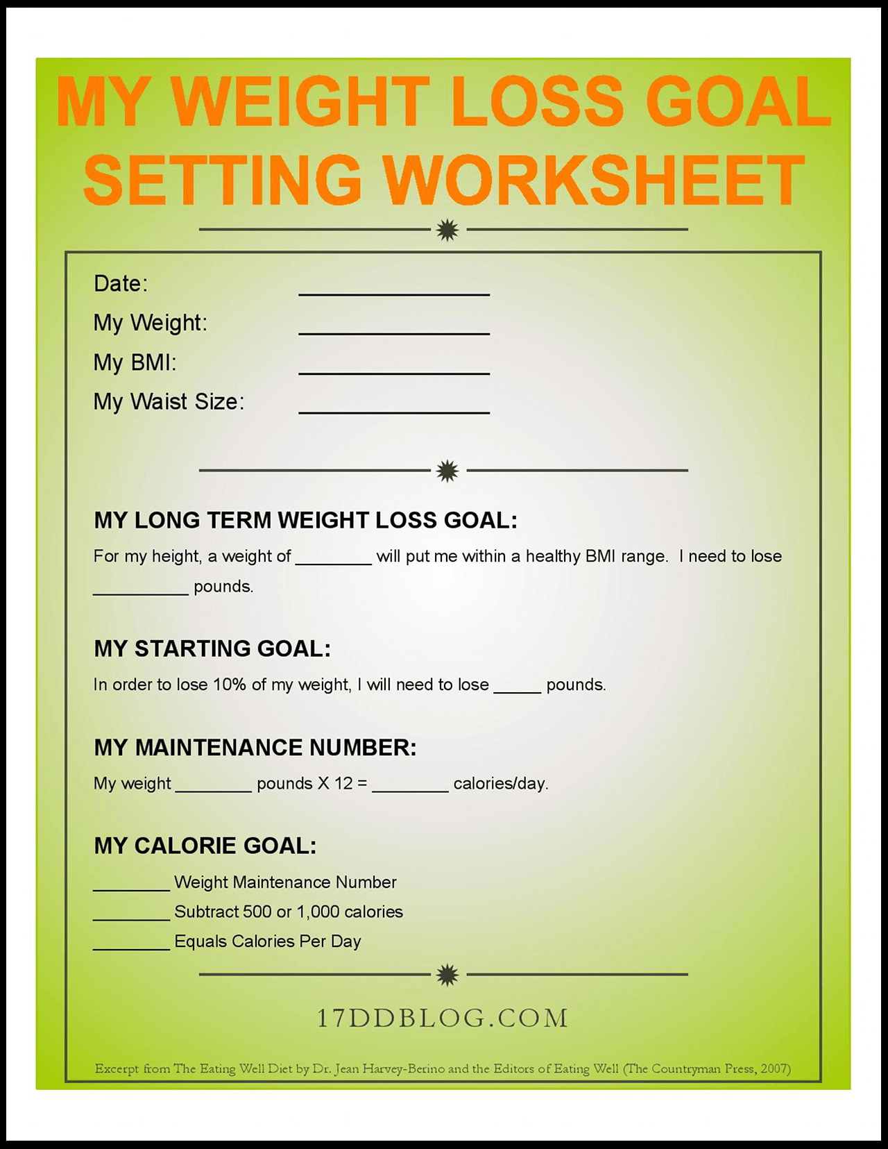 My Weight Loss Goal Setting Worksheet Free Download
