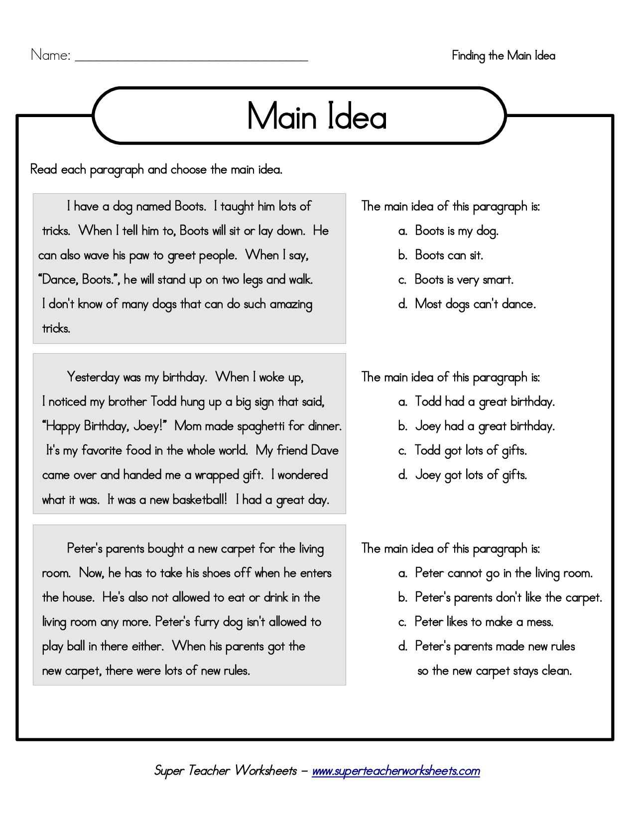 Main Idea Shared Reading Practice Used This As Guided Practice On The Promethean Board Color