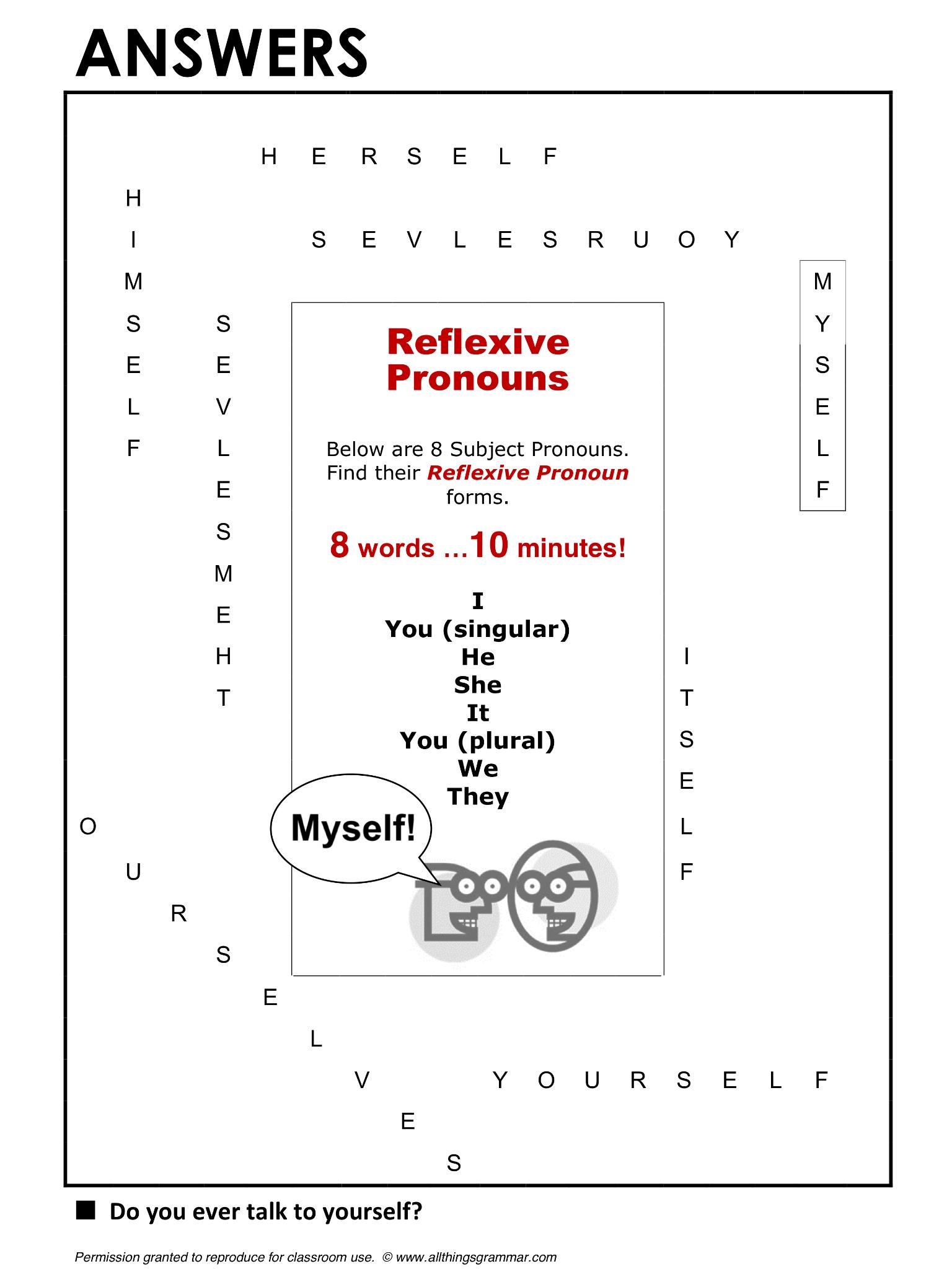 English Grammar Word Search Reflexive Pronouns Lthingsgrammar Reflexive
