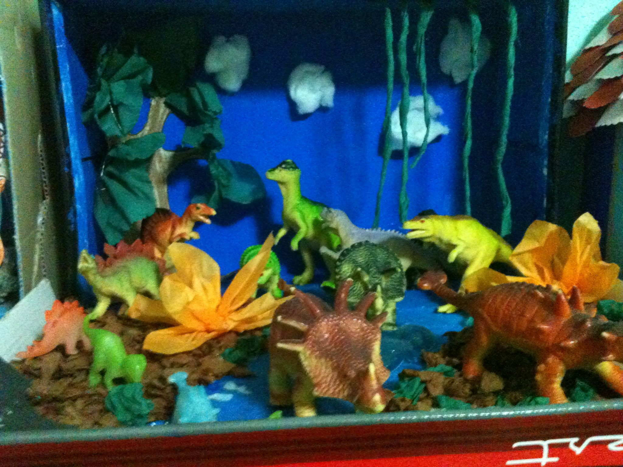 Land Animals Diorama Made From Shoebox Crepe Paper And