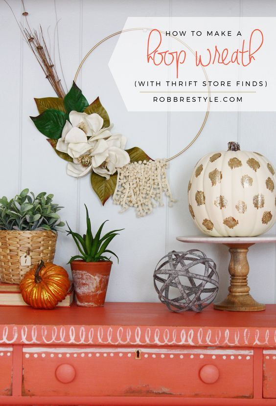 how to make a hoop wreath for fall decor with thrift store finds tutorial