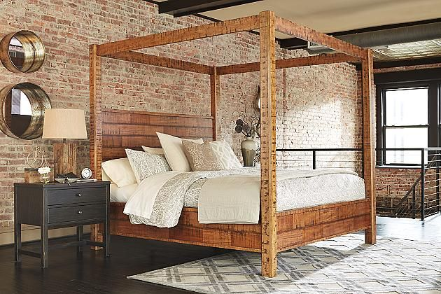Rustic Brown Wesling Queen Poster Bed View 5 For Cat