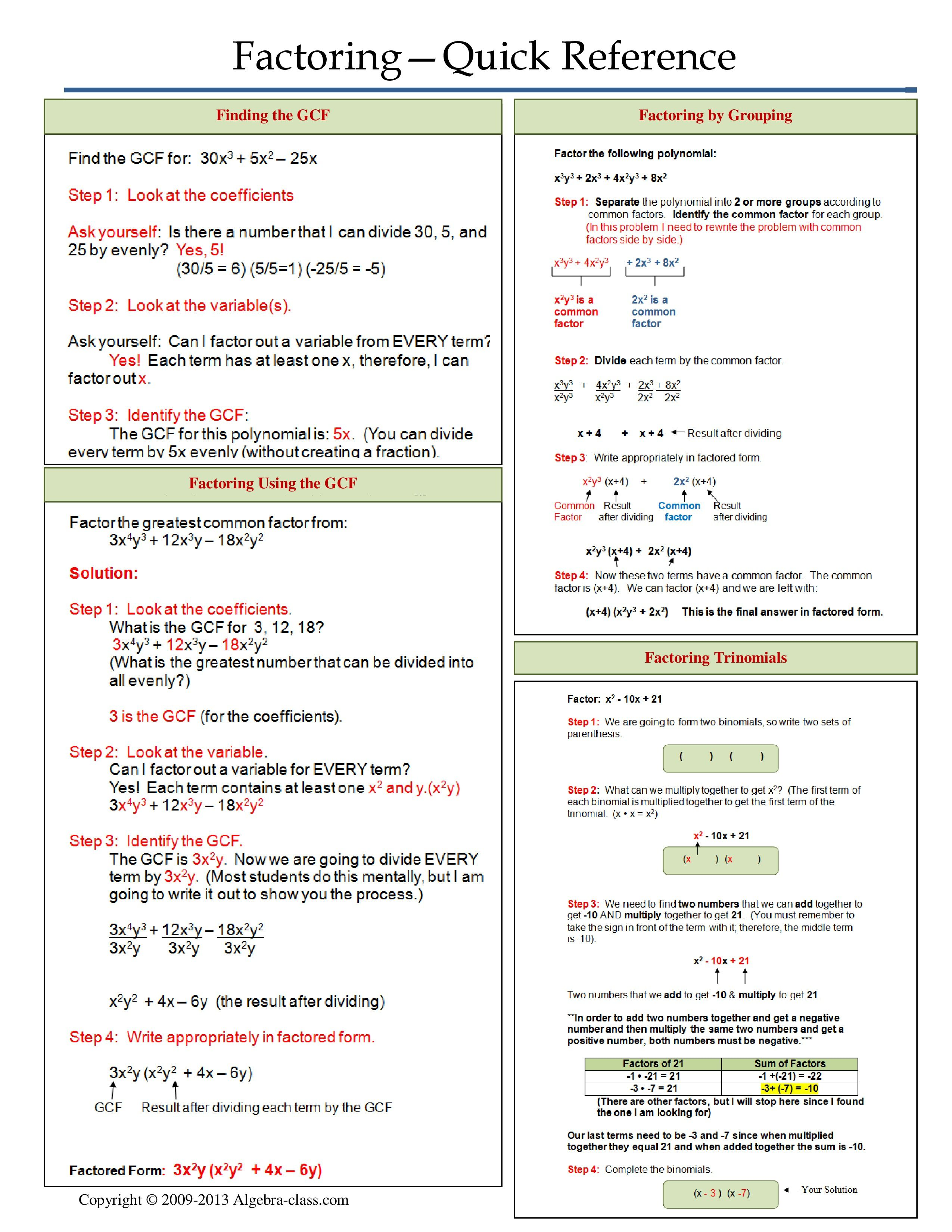 One Page Notes Worksheet For Factoring Unit