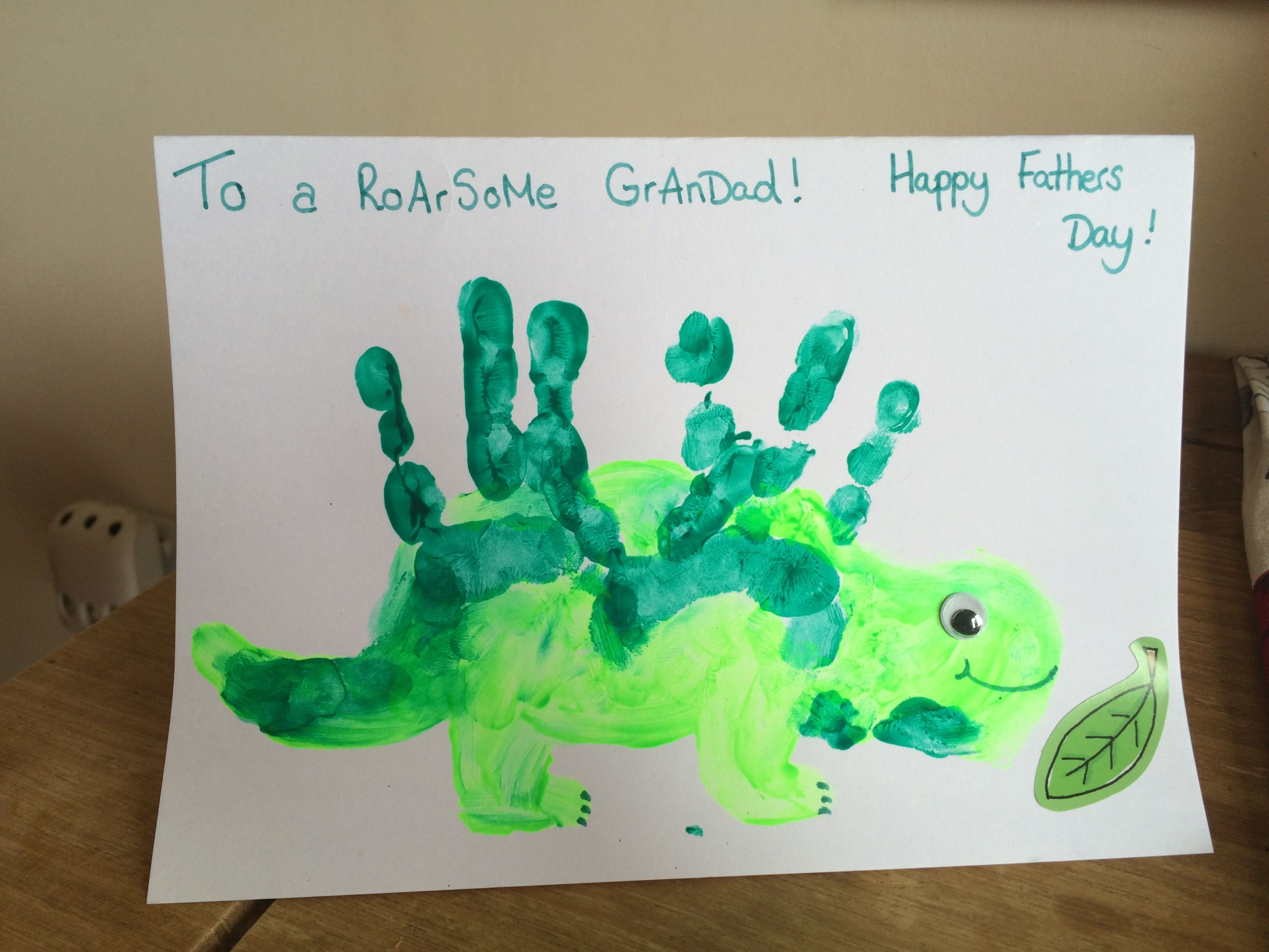 Handprint Art Dinosaur To A Roarsome Grandad Fathers Day