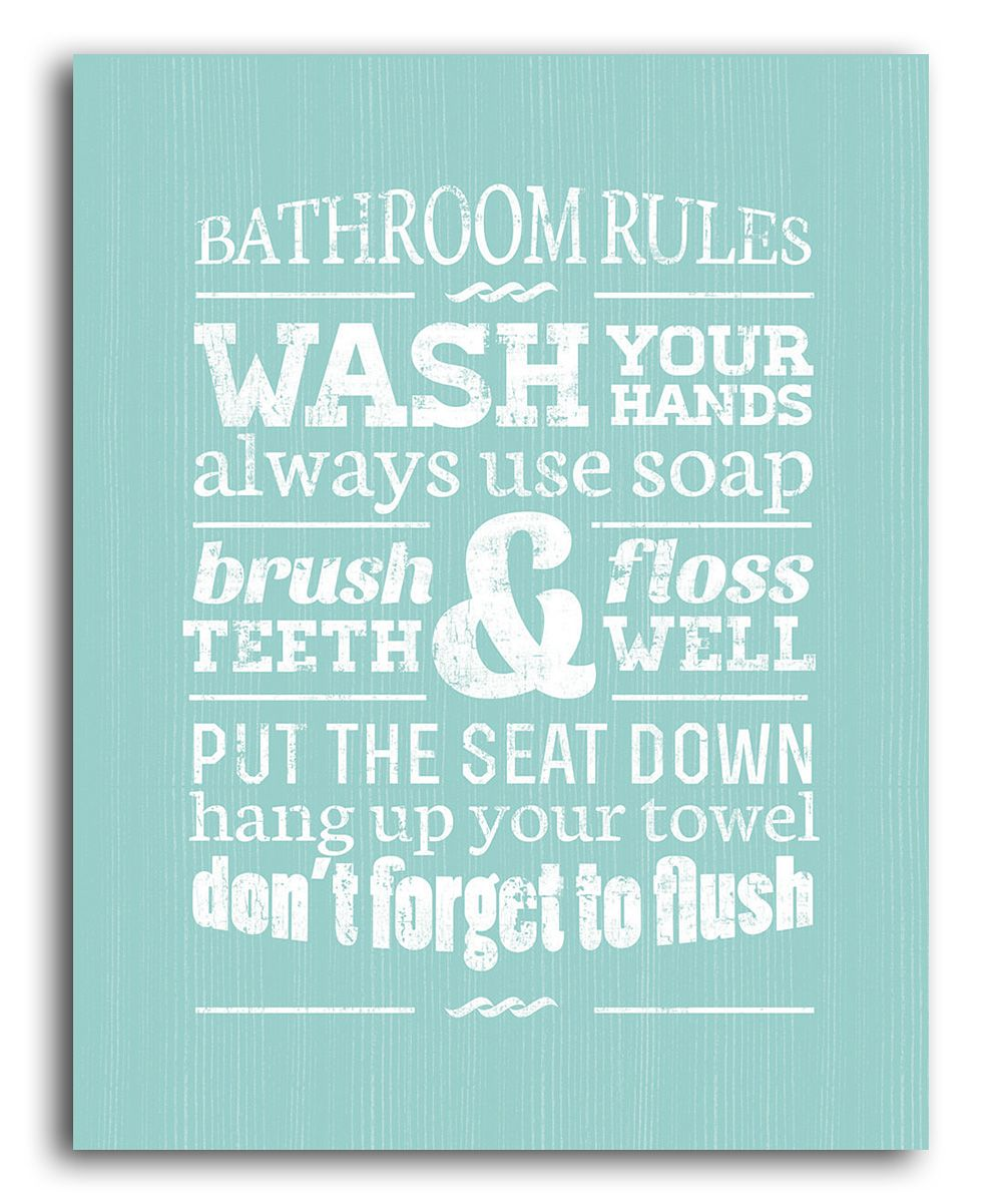 "green bathroom rules wall art | ""fashion, gifts & foods - that i"