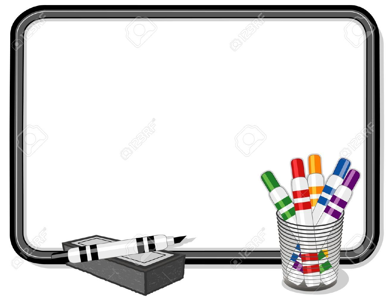 Whiteboard With Multicolor Marker Pens Royalty Free
