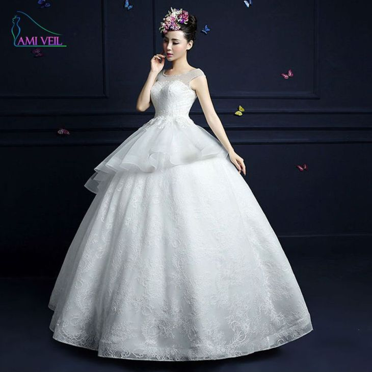 Click to Buy ucuc Gorgeous See Through Princess Lace Ruffles Luxury