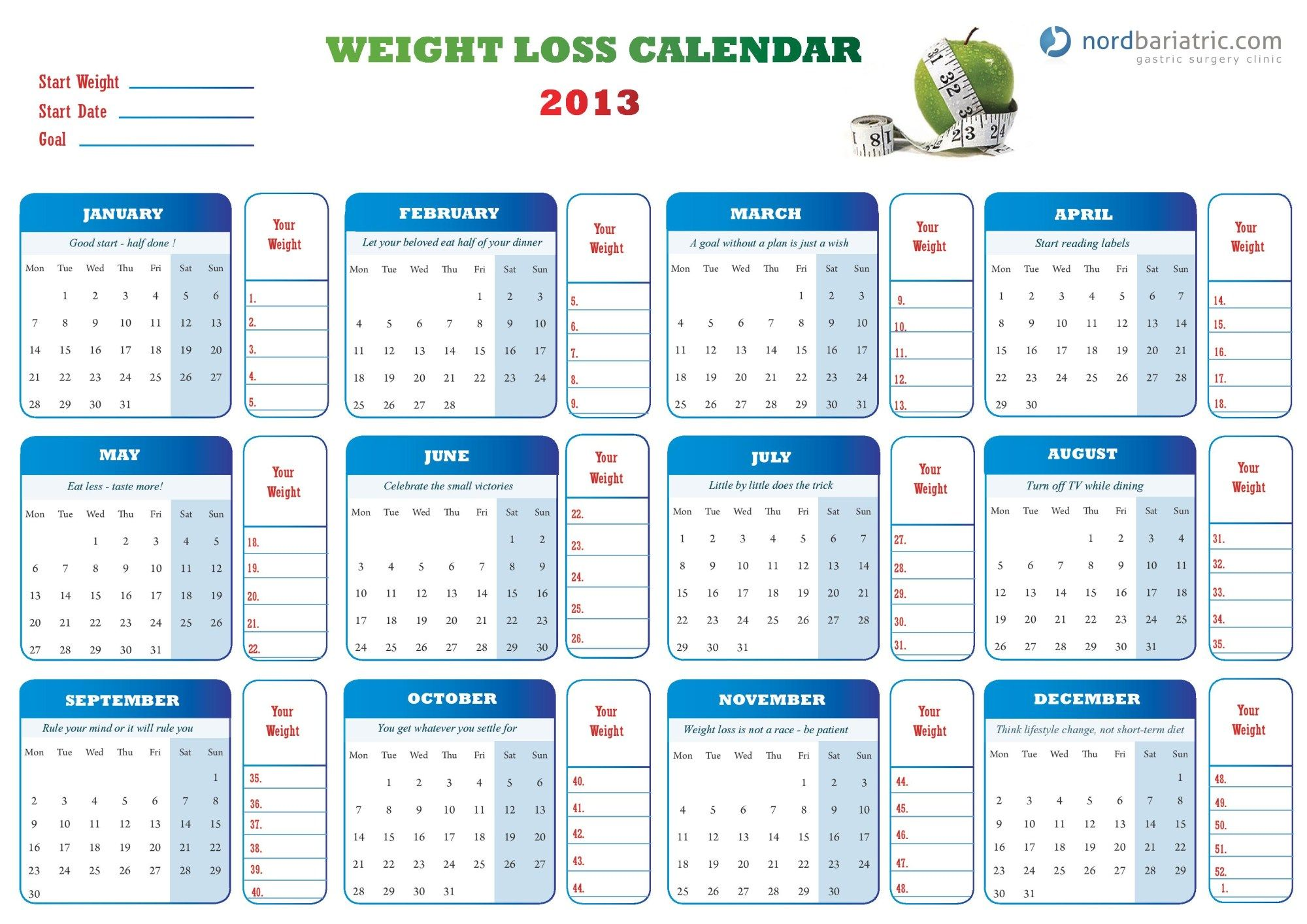 Weight Loss Calendar For