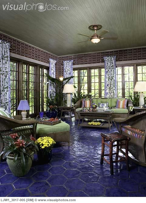 Sunrooms Cobalt Blue Hexagon Tile Floor Walk All Over