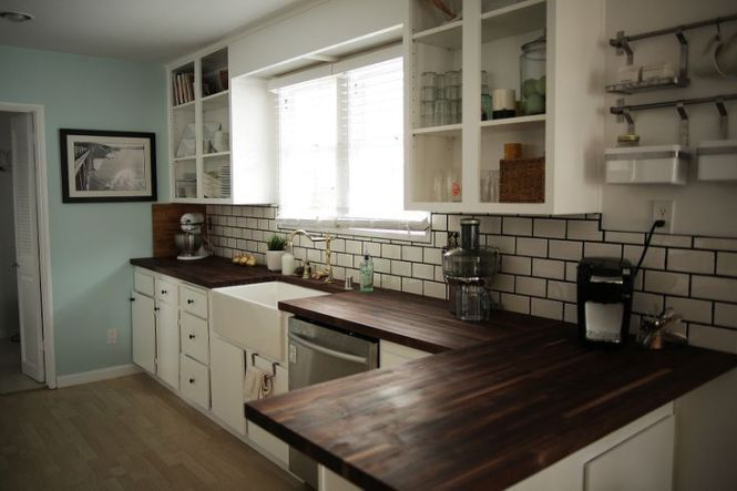 white cabinets wood countertops bstcountertops. Black Bedroom Furniture Sets. Home Design Ideas