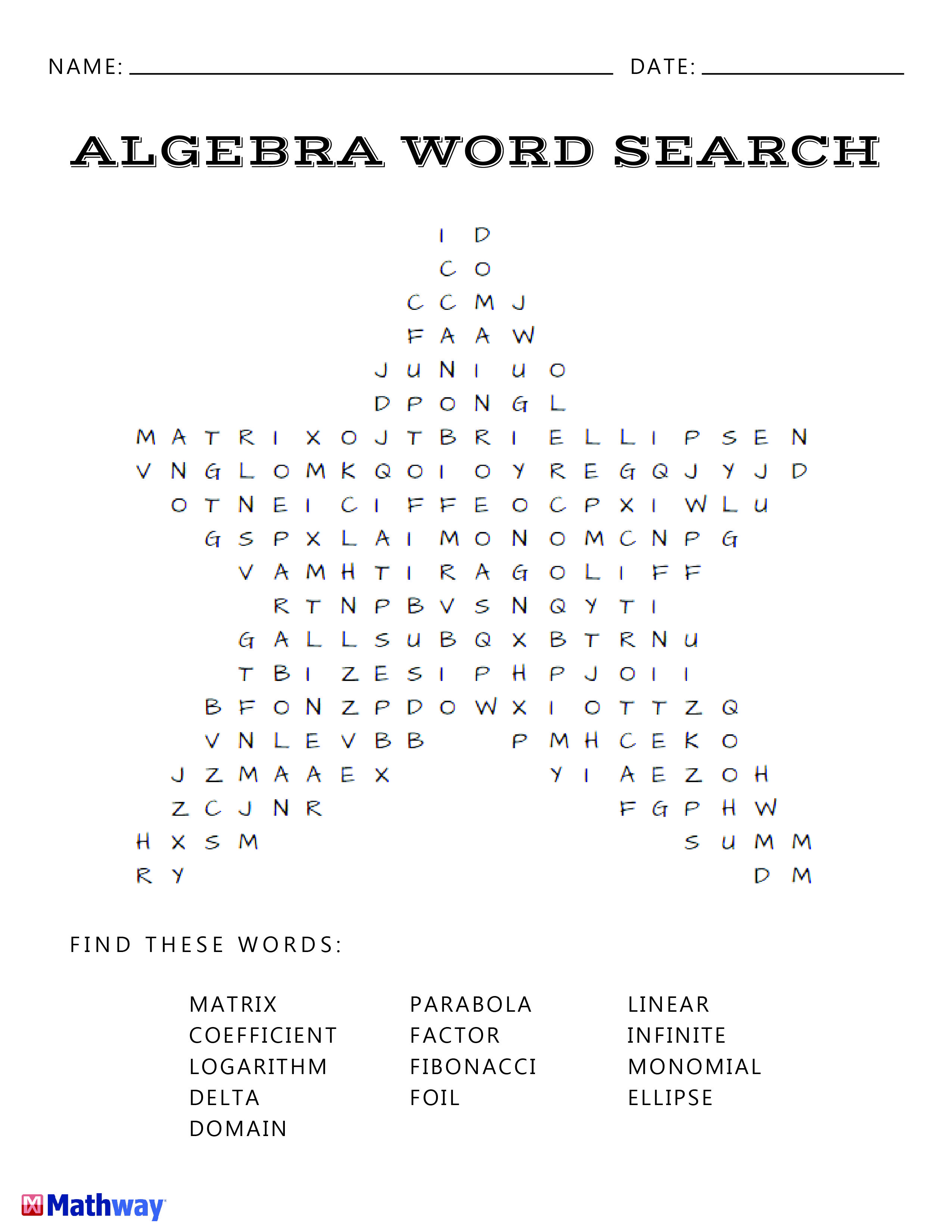 Math Worksheet Word Search Numbers