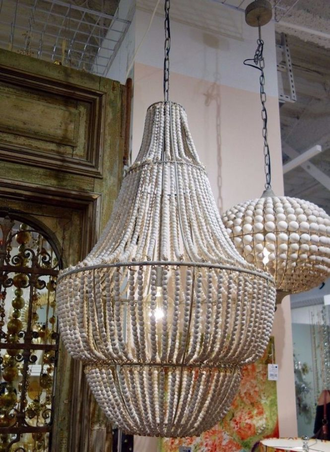 Stunning 41 Large Seaside White Washed Beaded Wood 4 Tier Chandelier