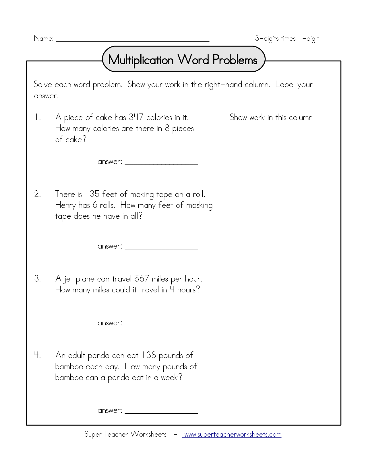 Multiplication Problem Solving For Grade 4