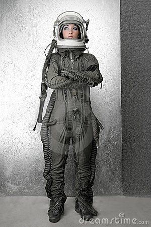 Astronaut fashion stand woman space suit helmet clothing