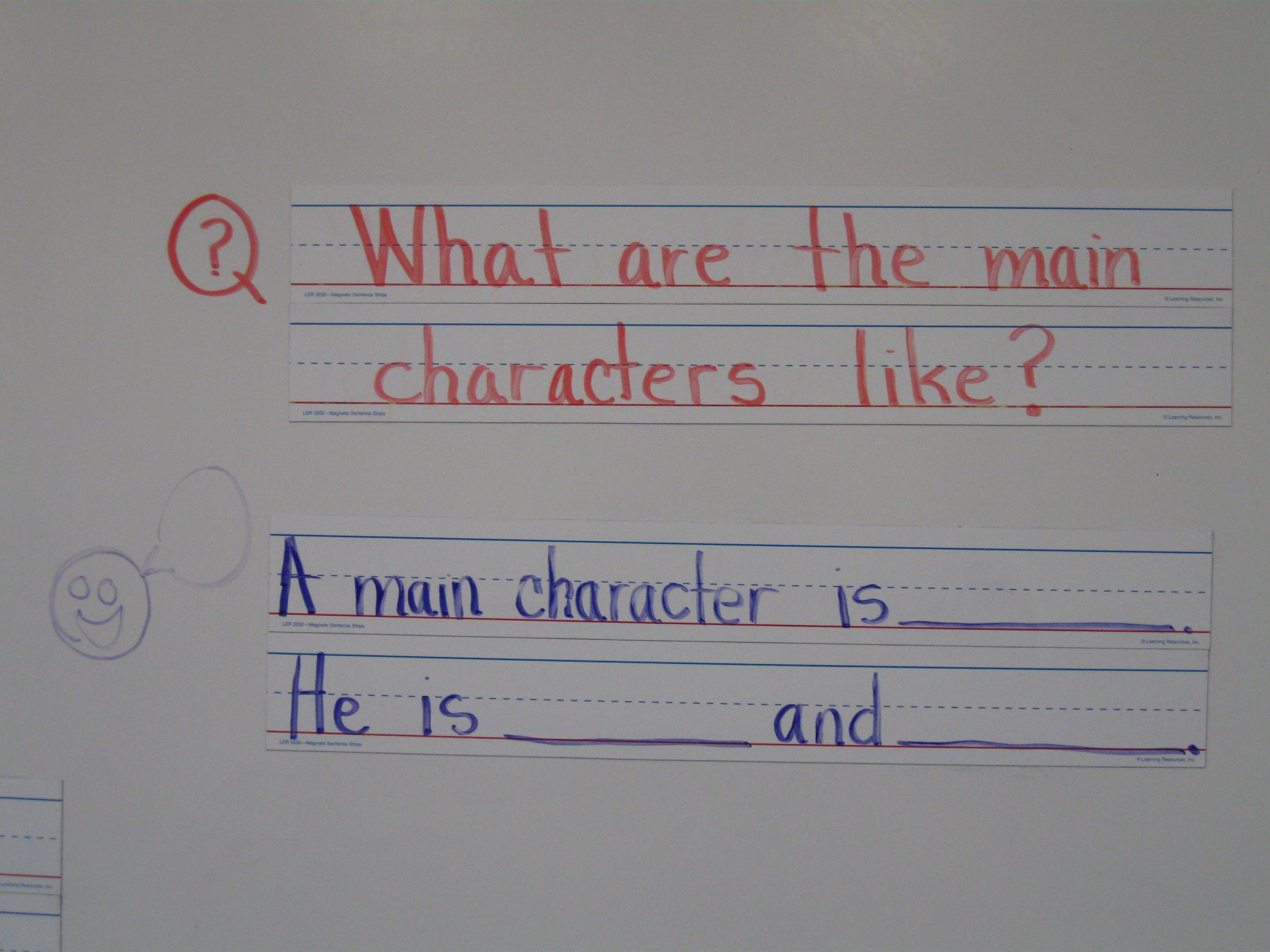 Main Character Question And Sentence Frame
