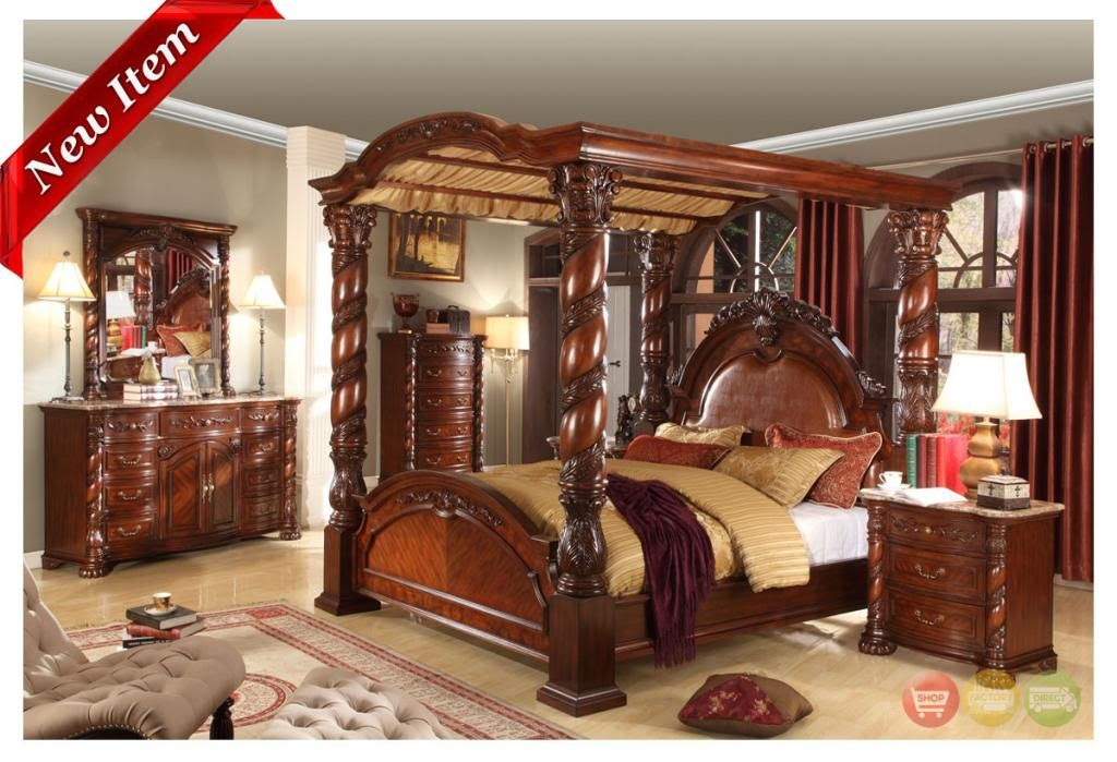 castillo de cullera cherry queen size canopy bedroom set | canopy